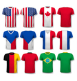 Set of different T-shirts with prints of world vector image
