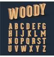 3d wood font set vector image