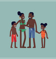 African parents and young children in swimsuits