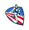 American Marathon Runner Running Retro vector image vector image