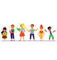 banner with singing kids cartoon characters flat vector image vector image