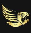 bodybuilding symbol golden vector image vector image