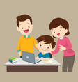 boy and mother sitting with laptop vector image