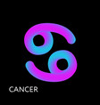 cancer text horoscope zodiac sign 3d shape vector image vector image