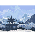 Chinese Pagoda in the snowy mountains vector image vector image