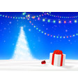 christmas tree with gift box in snow vector image vector image