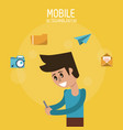 color poster of mobile technology with man half vector image vector image