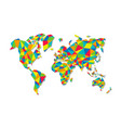 colorful low poly world map geometric concept vector image vector image