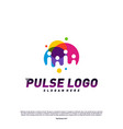 colorful pulse logo design concept people beat vector image vector image