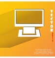 Computer Flat modern web button with long shadow vector image