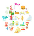 cool show icons set cartoon style vector image vector image