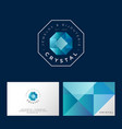 crystal logo faceted gem blue crystal letters vector image