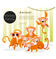 Cute animal family background with Monkeys vector image vector image