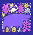 cute hippo and bird flat vector image