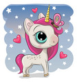 cute unicorn with butterfly on a stars background vector image