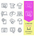 e-learning line icons set black vector image vector image