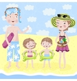 Family on holiday by the sea vector image vector image