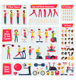 fitness training people character constructor vector image vector image
