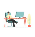 flat modern office with businessman sitting vector image vector image