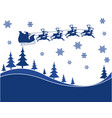 flying santa and christmas reindeer vector image