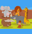 funny cartoon wild african animal characters group vector image vector image
