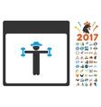Gentleman Fitness Calendar Page Flat Icon vector image vector image