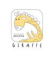 giraffe logo original design cute funny animal vector image