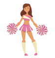 girl with pompoms cheerleader isolated female vector image vector image