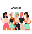 girlshood girlfriends women team flat color vector image vector image