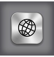 Global icon - metal app button vector image vector image