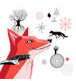 graphic beautiful portrait of a red fox vector image vector image