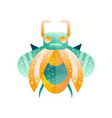 green and yellow bug with horns colorful flat vector image vector image