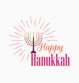 happy chanukah candlestick with nine candles vector image vector image
