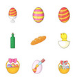 happy easter gifts icons set cartoon style vector image