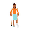 injured young black woman with leg in plaster vector image