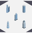 isometric building set of skyscraper exterior vector image vector image