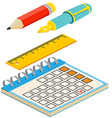 Isometric fountain penpencil calendar and ruler on vector image vector image