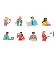 large set colourful people doing activities vector image