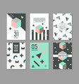 memphis style geometric elements poster templates vector image