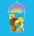 outlined cocktail cup filled with summer fruits vector image vector image
