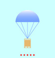 parachute with cargo set it is color icon vector image