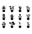 pot plants icons set vector image