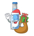santa with gift bottle soda water isolated on vector image vector image