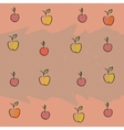Seamless with the image of fruit apples cherries vector image