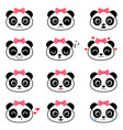set cute cartoon panda emotions vector image