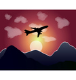 setting of the sun flying plane vector image vector image