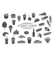 street food glyph icons vector image