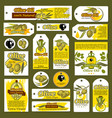 tags banners for olive oil organic product vector image vector image