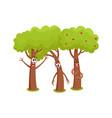 three funny tree characters talking sad hussing vector image