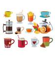 warm drinks hot breakfast liquid products tea vector image